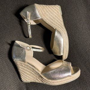 New York & Company Gold Espadrille Wedges